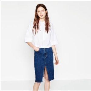 Zara Trafaluc White Poplin Crop Top Button Back XS